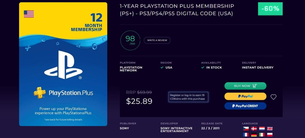 One Year PlayStation Plus Membership Deal